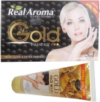 Bigsale786 Real Aroma 24Ct Gold Facial Kit 5 in 1 Free Aroma Gold Face Wash 740 g(Set of 5)