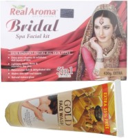 Bigsale786 Real Aroma Bridal Spa Facial Kit 5 in 1 Free Aroma Gold Face Wash 740 g(Set of 5)