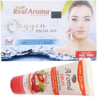 Bigsale786 Real Aroma Oxygen Facial Kit 5 in 1 with Free Aroma Fruit Soap Free Face Wash 740 g(Set of 5)