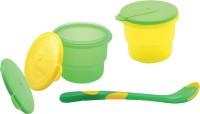 Nuby Storage Bowl with Feeding Spoon  - Polypropylene(Green, Yellow)