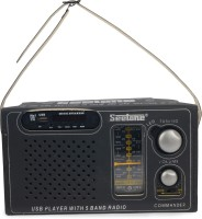 Seetone Rechargeable Modern Multimedia with USB/AUX/Card Reader and Remote FM Radio(Black)
