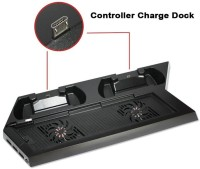 microware Console and Controller Charging Stand  Gaming Accessory Kit(Black, For PS4)