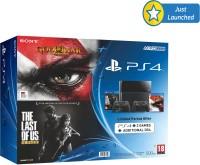 Sony PlayStation 4 (PS4) 500 GB & Dual Shock Controller 4 with God of War Remastered and The Last of Us Remastered(jet black)