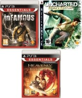 SONY PlayStation 3 (PS3) 500 GB with In Famous, Uncharted Drake's Fortune, Heavenly Sword(Charcoal Black)