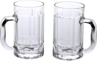 Somil (Pack of 2) Trandy & New Design Stylish Glass Beer Mug With Handle Set Of 2 Glass Set(425 ml, Glass)