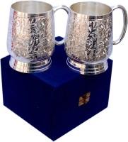 Folkshopz 102501 Glass Set(Brass, 500 ml, Silver, Pack of 2)
