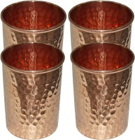 DakshCraft Handmade Pure Copper Hammered Tumbler Glass,Set of 4 Glasses Glass Set(298 ml, Gold, Pack
