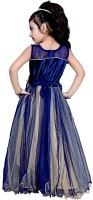 Arshia Fashions Flared Gown(Blue, Gold)