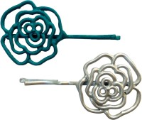 B-Fashionable Grill Flower Hair Pin(Blue, White)