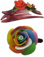 Advanc Hotline Porcelain clay work fancy banana clip (Combo of 2) Hair Clip(Multicolor) - Price 449 77 % Off