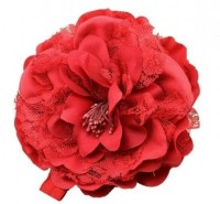 NeedyBee Peony Flower Elastic for Baby Girls Head Band(Red)