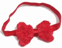 Pink & Blue India Baby Net Hair Bow in Red With Rose Flower Head Band(Red)