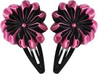 Threads N Ribbons Pink Black Flower Hair Clip, Tic Tac Clip(Pink, Black)
