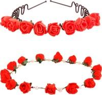 Style Tweak Style Tweak Red Zigzag Hairband Tiara and Red Princess Crown Hair Band(Red)