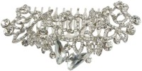 Muchmore Exclusive Silver Plating Work Charm Hair Clip For Girls & Women Gift Jewelry Hair Clip(White)