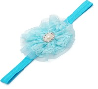 NeedyBee Girls Light Blue Pearl Mesh Yarn Flower Kids Hair Accessories Elastic Infant Baby Head Band(Blue)