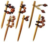 CraftEra Wooden Bun Stick(Brown)