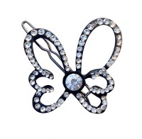 B-Fashionable Solitaire Butterfly Wire Clasp Hair Pin(Black)