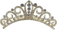 Muchmore Charming Hair Crown For Girls & Kids Partywear Jewelry Hair Clip(Gold, White)