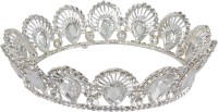 Muchmore Gorgeous Real Queen Look Hair Crown For Girls & Women's Partywear Jewelry Hair Clip(Silver, White)