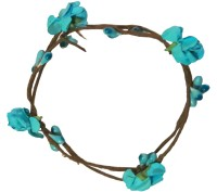 CraftEra Striking Handmade Light Blue Floral Hand Tiara/Crown for Girls Head Band(Blue)
