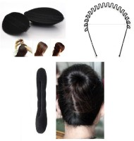 Chanderkash Set Of Donut Bun With Puff Bun And Hair Band Hair Accessory Set(Black) - Price 163 79 % Off