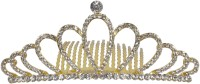 Muchmore Gorgeous Beautiful Style Fashion Crown For Women Gift Jewelry Hair Clip(Gold, White)