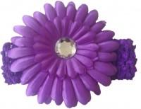 NeedyBee Baby Girls Soft Elastic Crochet Embellished with Daisy Flower Head Band(Purple)