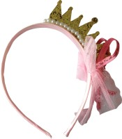 NeedyBee Yellow Gold Princess Crown Glitter Hair Band(Yellow)