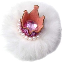 Pinkblueindia Crown Style with Soft Fur and Pearls Hair Clip(White)