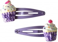NeedyBee Cupcake Pack of Two Baby Snap Hair Clip(Purple)