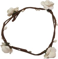 CraftEra Trendy Handmade White Floral Hand Tiara/Crown for Girls Hair Band(White)