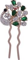 Pink Rose Bridal Mayur Charm Hair Pin(Green, White)