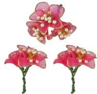 Majik Flowers For Bun Making Hair Clip(Red)