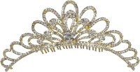 Muchmore Traditional Crown For Woman And Girls For Party And Wedding Occasion Hair Clip(Gold, White)