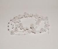 GalexiaR Bridal Wedding Beaded Pearl Decoration White 130cm Head Band(White)