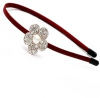Dchica Awesome Flower and Pearl Crystal Crown Hair Band(Maroon) - Price 110 48 % Off