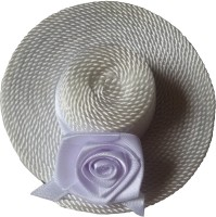 Viva Fashions Rolled Up Rose Hat Hair Clip(White)