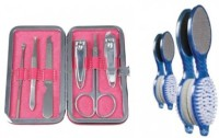 VEGA Set of 6 Manicure Tools MS-06 & Foot Scrubber 4 in 1 PD-02 (Pack of 2)