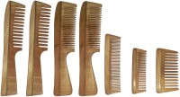 Ginni Marketing Combo of 7 Neem Wood Combs (regular and detangler handle+ 4 inches, 5 inches and baby detangler)