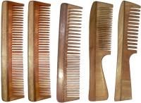 Ginni Marketing Combo of 5 Neem Wood Combs (regular + regular and detangler handle)(7.5 Inches ) - Price 499 83 % Off