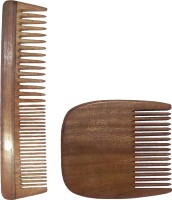 Ginni Marketing Combo of 2 Neem Wood Combs (regular detangler-7.5