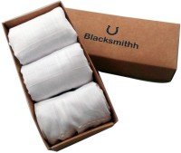 Blacksmith 100% Mercerized Cotton Solid White Handkerchief(Pack of 3)