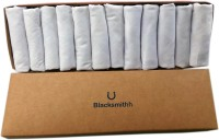 Blacksmith 100% Mercerized Cotton Solid White Handkerchief(Pack of 12)