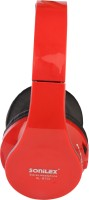 Sonilex SL-BT02 Wired & Wireless bluetooth Headphone(Red, Over the Ear)