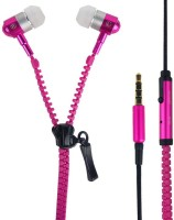 Dhhan Pink Zipper Wired Headphone(Pink, In the Ear)