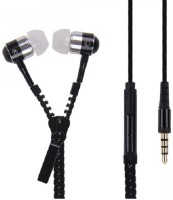 Quit-X �� Stereo Bass In Ear Metal Zipper Earphones with Mic 3.5mm Jack Headset with Mic(Black, In the Ear)
