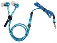 Quit-X �� Blue In-Ear Zipper 3.5mm Jack Earbuds w/ Mic Headset with Mic(Blue, In the Ear)