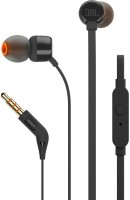JBL T110 Pure Bass Wired Headset with Mic(Black, In the Ear)
