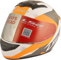 LS2 Trooper Motorbike Helmet(White, Orange)